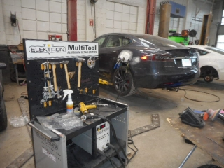 2017 tesla 100s during aluminum auto body repair
